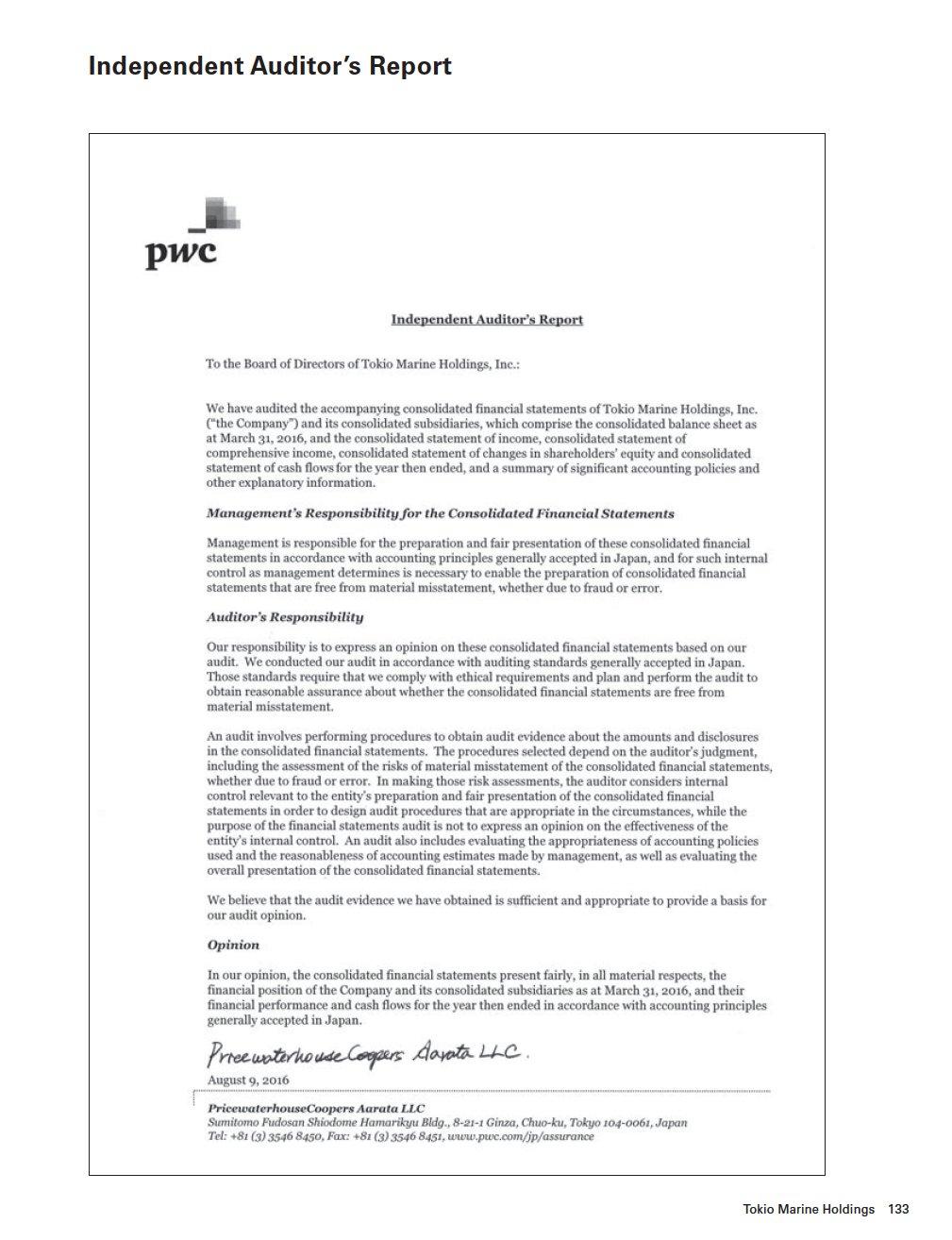 Tokio marine holdings inc independent auditors report altavistaventures Image collections